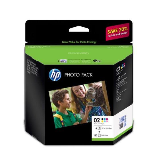 HP 02 Series Photo Pack-120 sht/10 x 15 cm