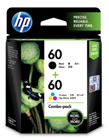 HP 60 2-pack Black/Tri-color Original Ink Cartridges