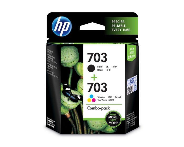 HP 703 2-pack Black/Tri-color Original Ink Advantage Cartridges