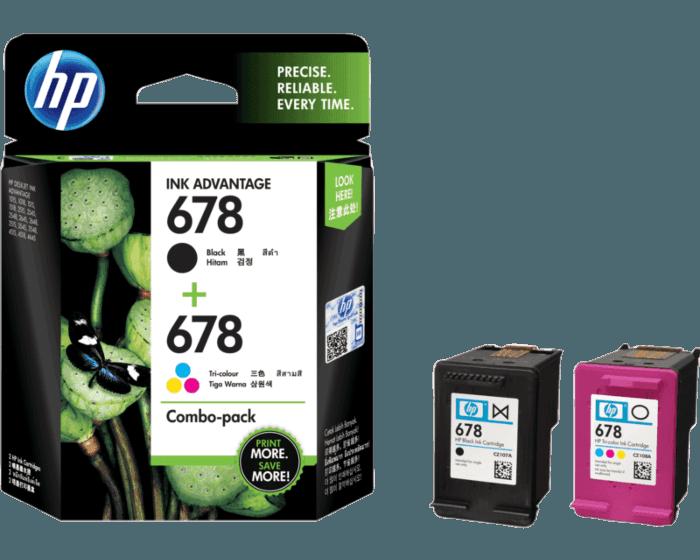 HP 678 2-pack Black/Tri-color Original Ink Advantage Cartridges