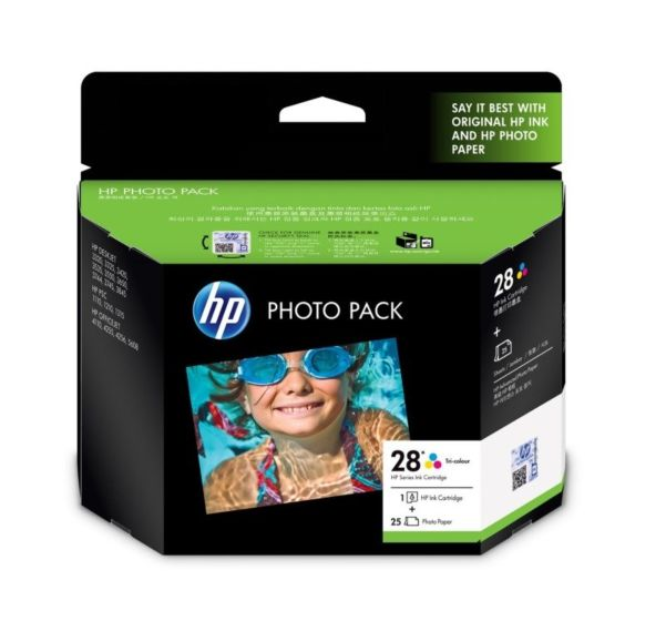 HP 28 Photo Value Pack-25 sht/4 x 6 in plus tab