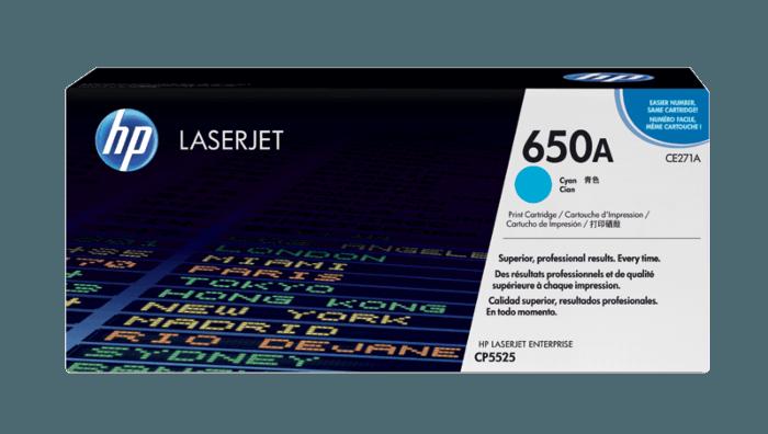 HP 650A Cyan Original LaserJet Toner Cartridge